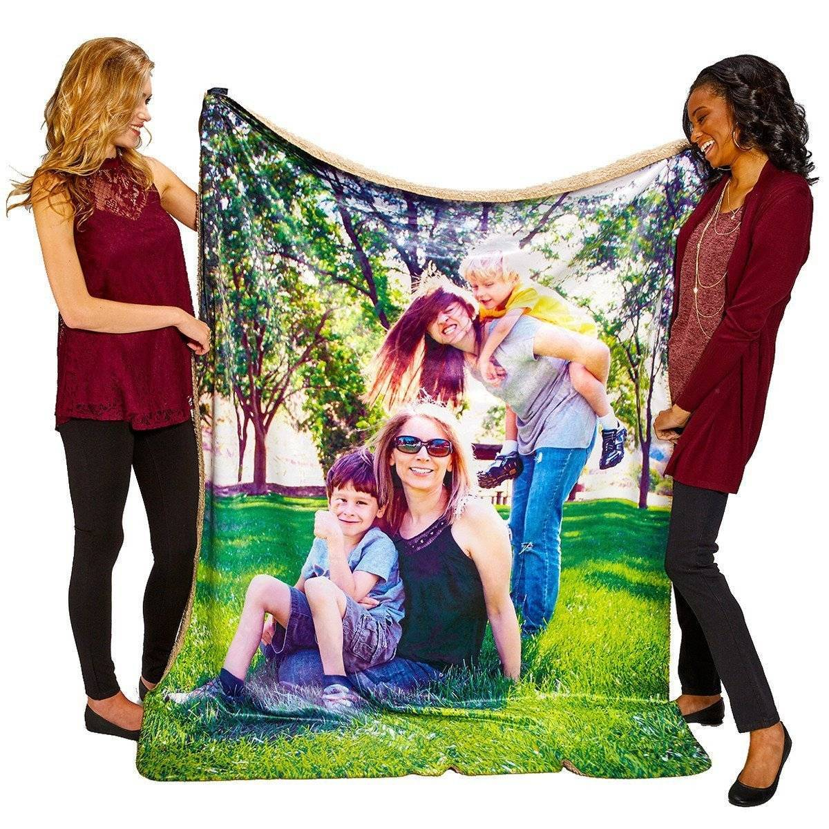 "60"" X 80"" Heavy Weight Photo Sherpa Throw Blanket"