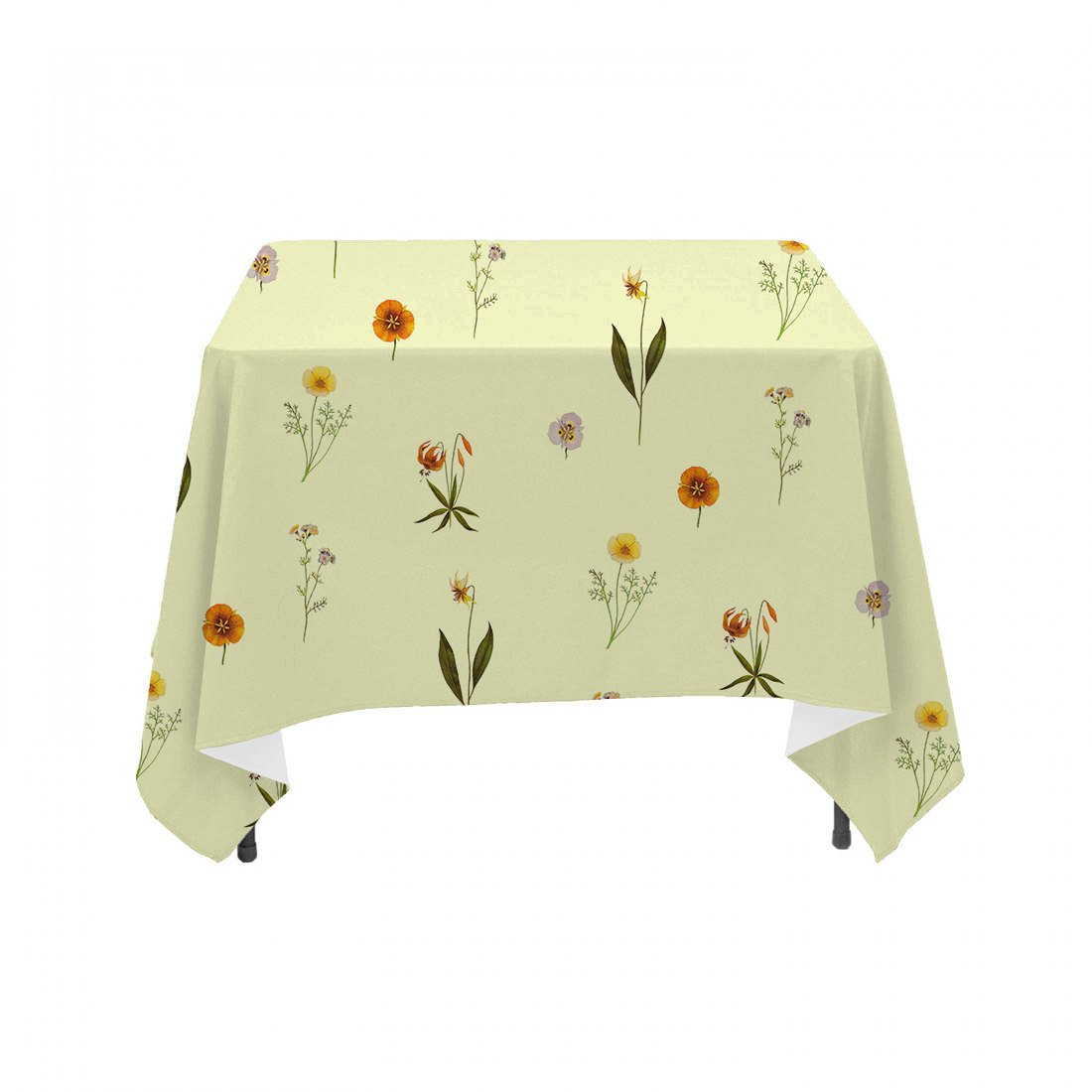 Sunny Botanical Vintage Floral - Linen Table Cloth