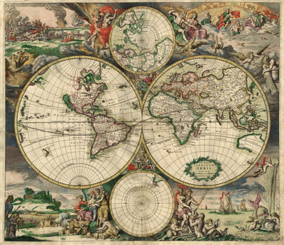 "Vintage World Map (18"" x 24"") - Canvas Wrap Print"