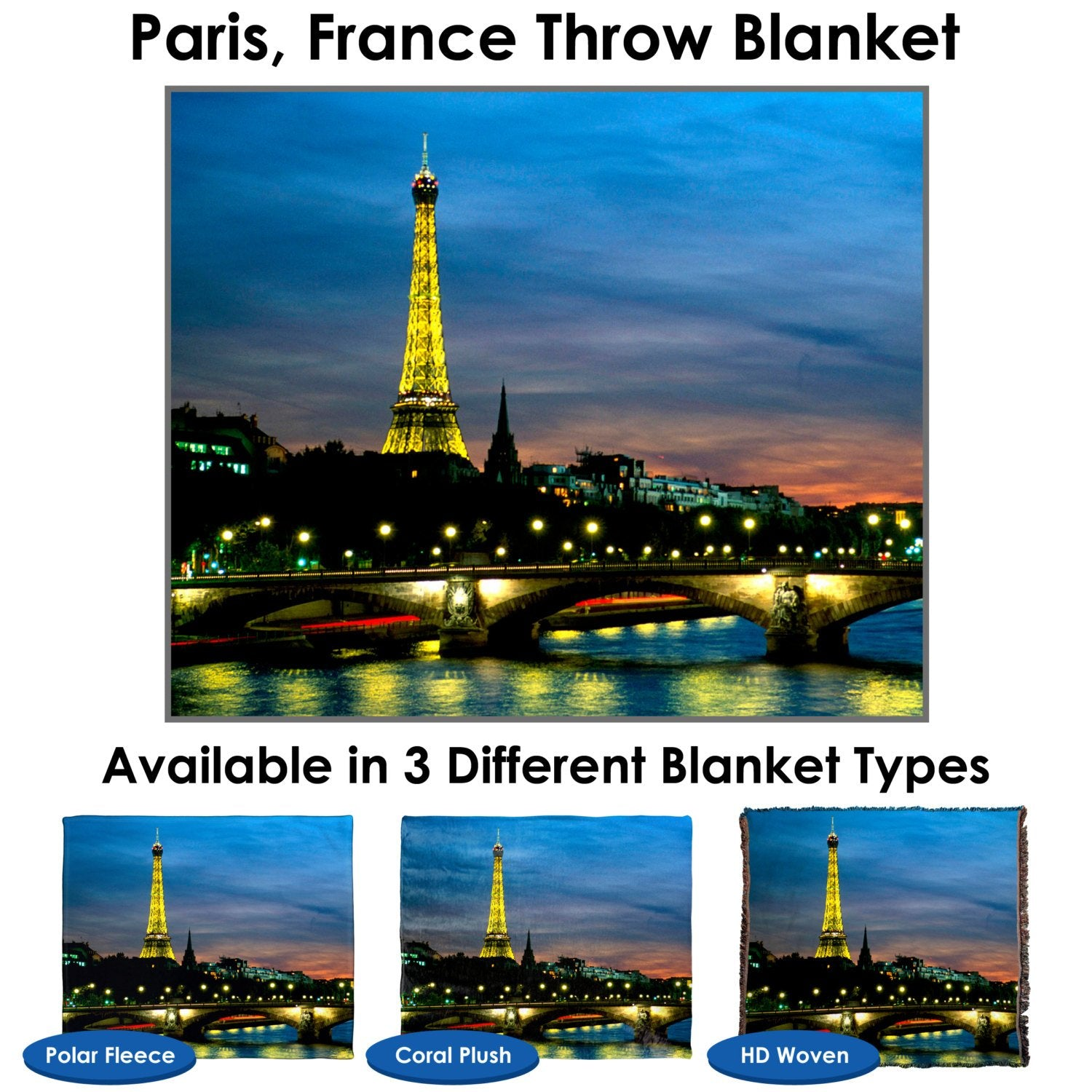 Paris, France Throw Blanket / Tapestry Wall Hanging - Standard Multi-color