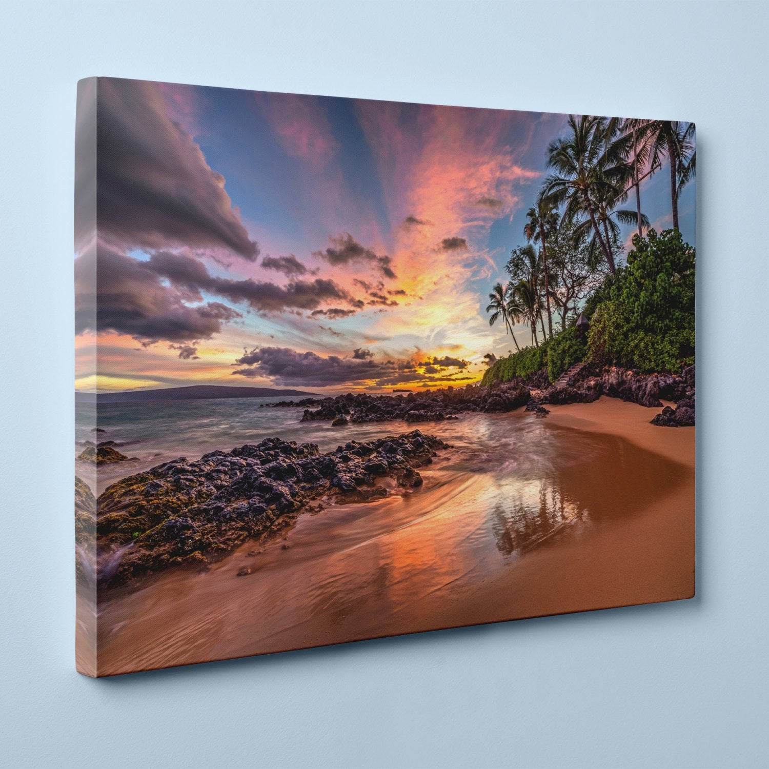 "Hawaiian Sunset at Secret Cove, Maui (12"" x 18"") - Canvas Wrap Print"