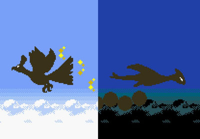 "Pokemon Gold and Silver, Ho-Oh and Lugia Silhouettes (11"" x 14"") - Canvas Wrap Print"
