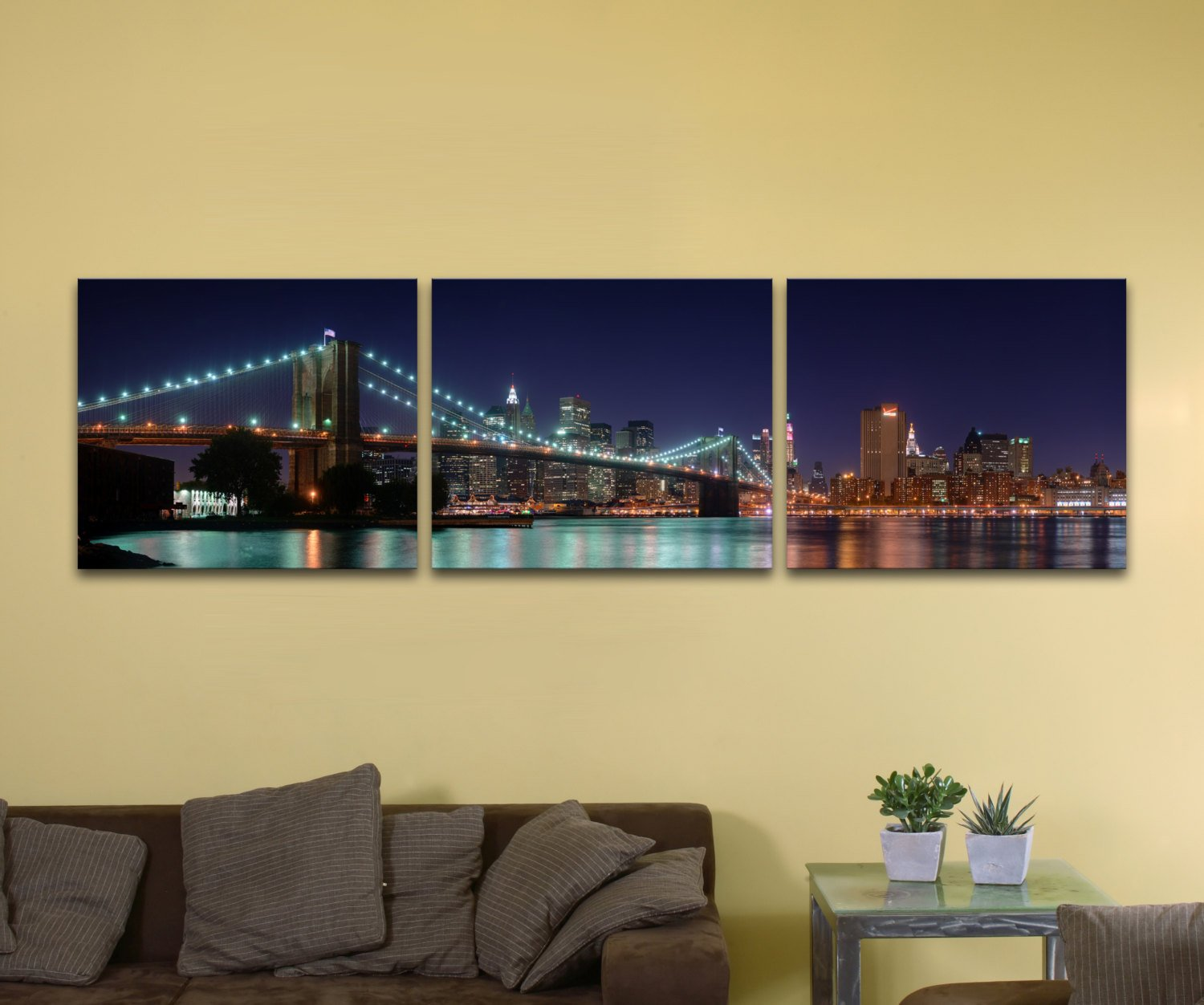 "Brooklyn Bridge, Bundle of Three (18"" x 24"") - Canvas Wrap Print"