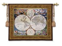 "World Map - 52""x42"" Tapestry Wall Hanging"