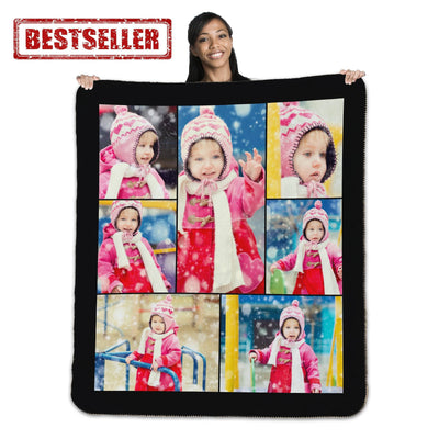 "Photo Blankets - 50"" X 60"" Heavy Weight Photo Full Service Collage Sherpa Throw Blanket"