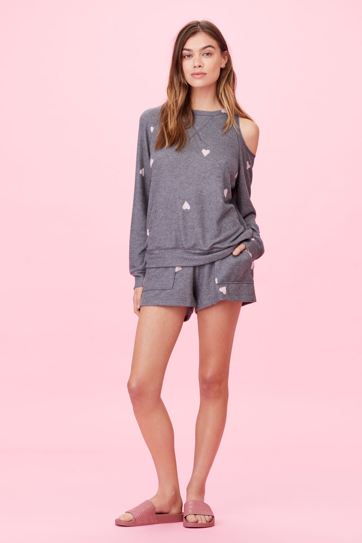 LNA Brushed Heart Print Short in Grey with Pink Hearts