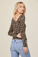 LNA Long Sleeve Leopard Print Angle Neck Top