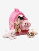 12-Inch Soft Dog Hotel With 5 Little Plush Puppies