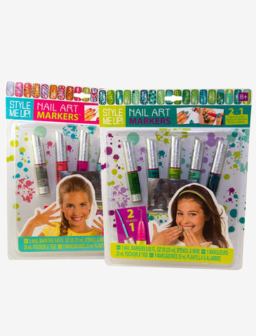 Style Me Up Nail Art Set: 2 Kits- Pink and Green Themes