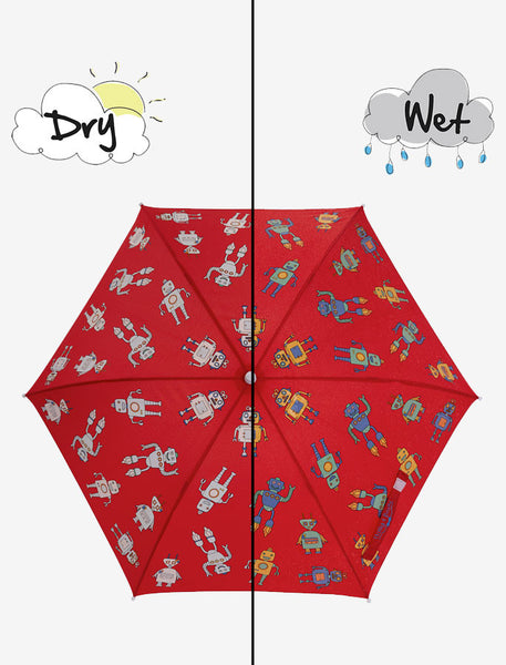 Holly and Beau Magic Hooded Rain Umbrella with Color Technology- Red Robot