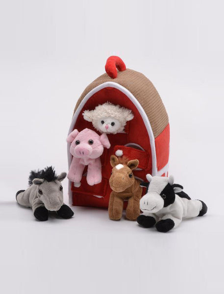 Soft Animal Barn with 5 Little Plush Animals