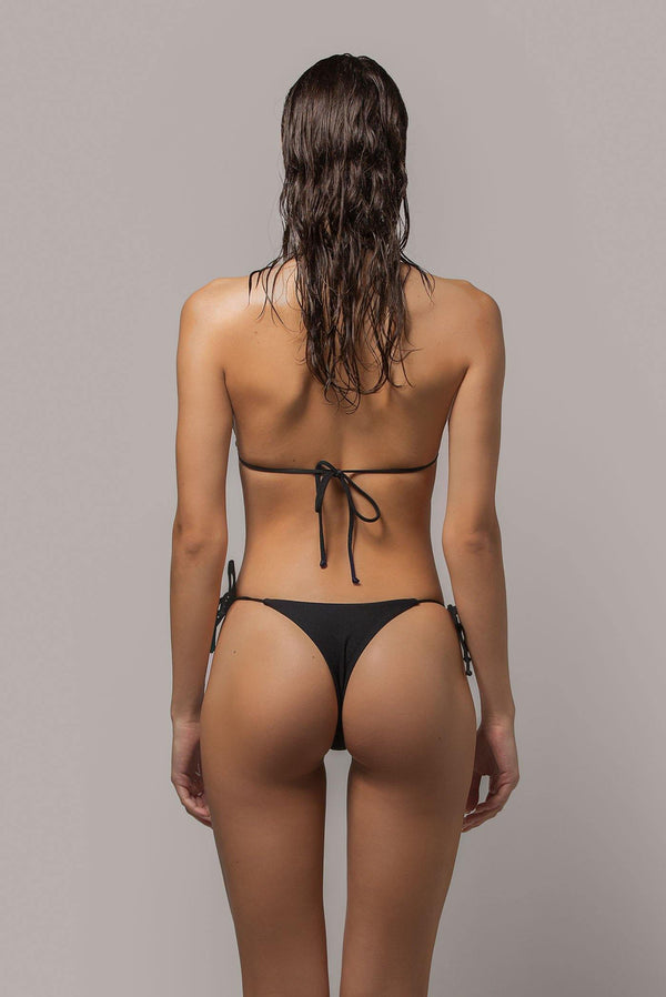 Ayra swim cheeky side tie bikini bottom in black back