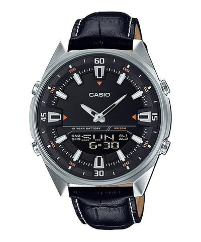 Casio Analog-Digital Black Leather Strap Watch AMW830L-1A AMW-830L-1A
