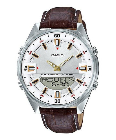 Casio Analog-Digital Brown Leather Strap Watch AMW830L-7A AMW-830L-7A