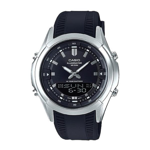 Casio Analog-Digital Combination Black Resin Band Watch AMW840-1A AMW-840-1A