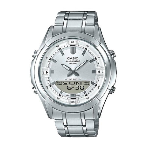 Casio Analog-Digital Combination Silver Stainless Steel Band Watch AMW840D-7A AMW-840D-7A