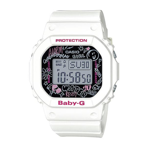 Casio Baby-G POPULAR SQUARE FACE White Resin Band Watch BGD560SK-7D BGD-560SK-7D BGD-560SK-7