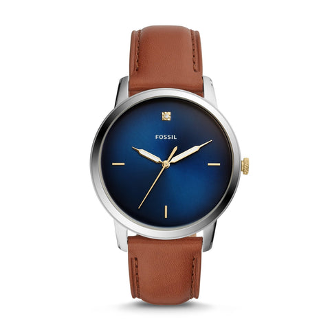 Fossil Men's The Minimalist Carbon Series Luggage Leather Watch FS5499