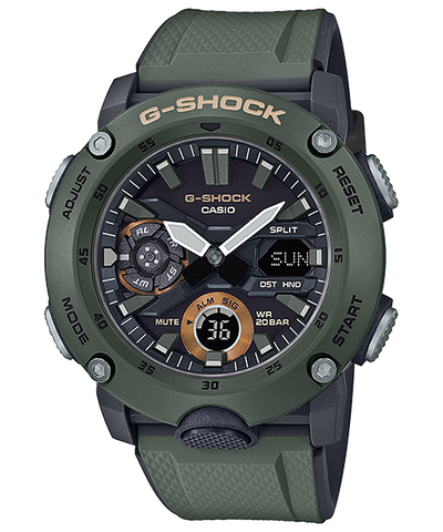 Casio G-Shock Carbon Core Guard Structure Olive Resin Band Watch GA2000-3A GA-2000-3A