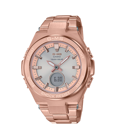 Casio Baby-G G-MS Lineup Tough Solar Peach Stainless Steel Band Watch MSGS200DG-4A MSG-S200DG-4A