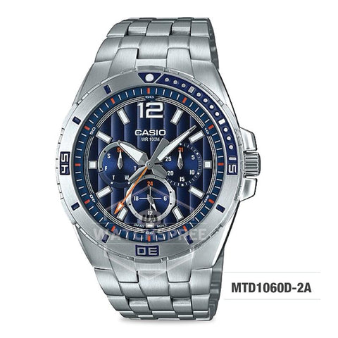 Casio Men's Diver Look Standard Analog Stainless Steel Band Watch MTD1060D-2A MTD-1060D-2A