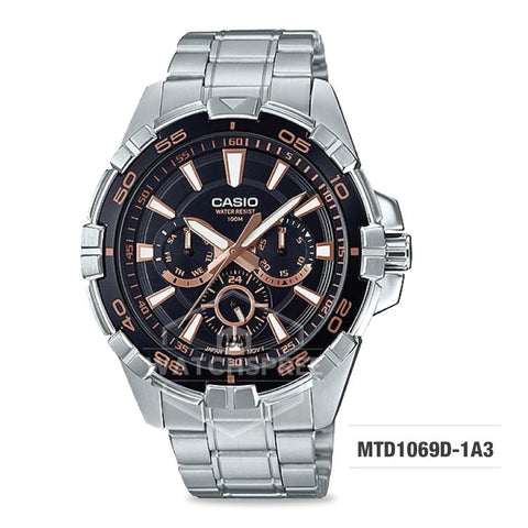 Casio Men's Diver Look Standard Analog Silver Stainless Steel Band Watch MTD1069D-1A3 MTD-1069D-1A3