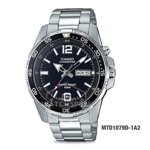 Casio Men's Diver Look Standard Analog Silver Stainless Steel Band Watch MTD1079D-1A2 MTD-1079D-1A2