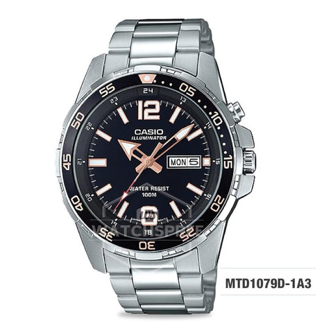 Casio Men's Diver Look Standard Analog Silver Stainless Steel Band Watch MTD1079D-1A3 MTD-1079D-1A3