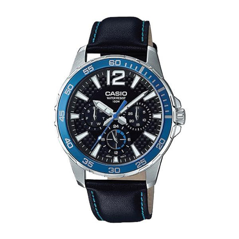 Casio Men's Marine Sports Diver Look Black Leather Strap Watch MTD330L-1A2 MTD-330L-1A2