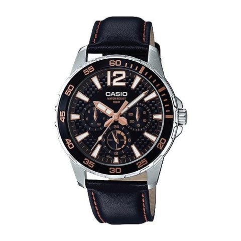 Casio Men's Marine Sports Diver Look Black Leather Strap Watch MTD330L-1A3 MTD-330L-1A3