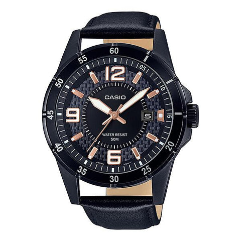Casio Men's Analog Black Leather Band Watch MTP1291BL-1A2 MTP-1291BL-1A2