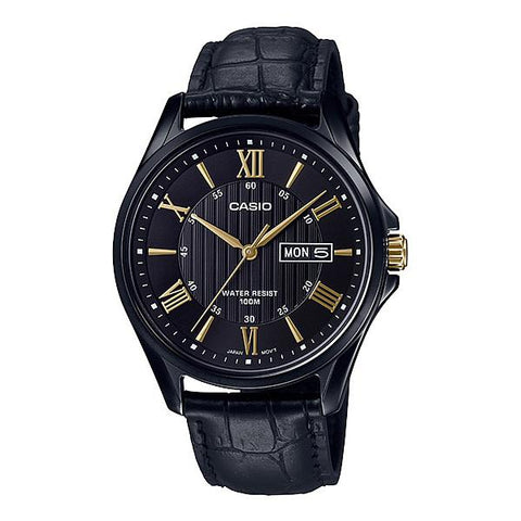Casio Men's Analog Black Leather Band Watch MTP1384BL-1A MTP-1384BL-1A