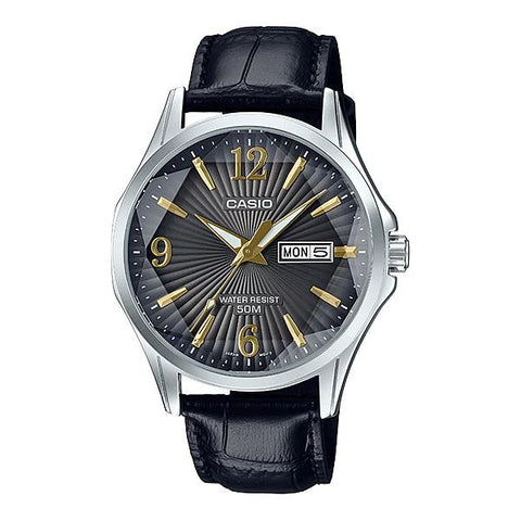 Casio Men's Enticer Series Black Leather Band Watch MTPE120LY-1A MTP-E120LY-1A