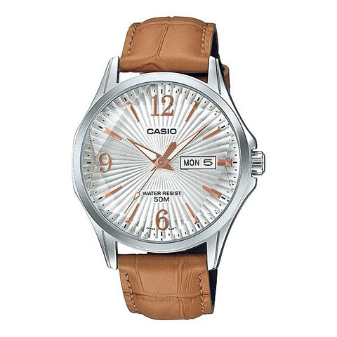 Casio Men's Enticer Series Light Brown Leather Band Watch MTPE120LY-7A MTP-E120LY-7A