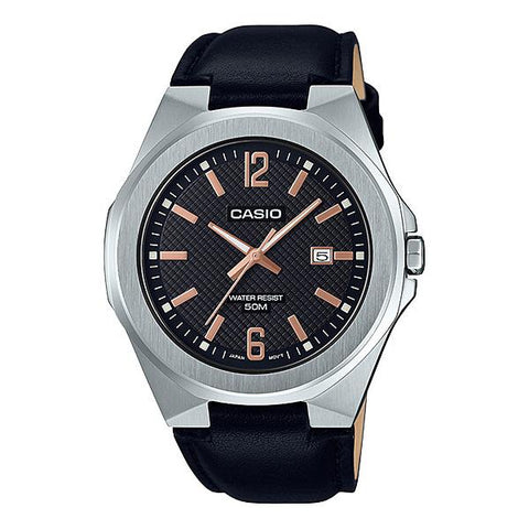 Casio Men's Analog Black Leather Band Watch MTPE158L-1A MTP-E158L-1A