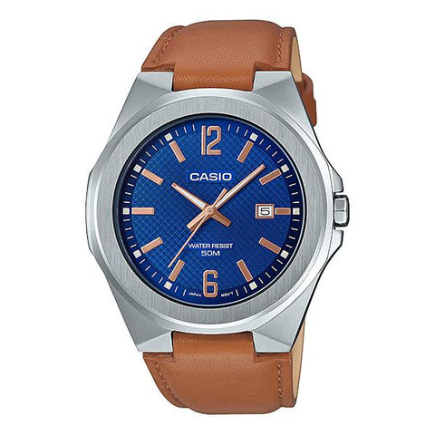 Casio Men's Analog Light Brown Leather Band Watch MTPE158L-2A MTP-E158L-2A