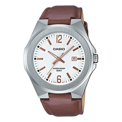 Casio Men's Analog Dark Brown Leather Band Watch MTPE158L-7A MTP-E158L-7A