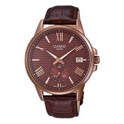 Casio Men's Analog Brown Leather Band Watch MTPEX100RL-5A MTP-EX100RL-5A