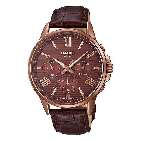 Casio Men's Multi-Hand Brown Leather Band Watch MTPEX300RL-5A MTP-EX300RL-5A