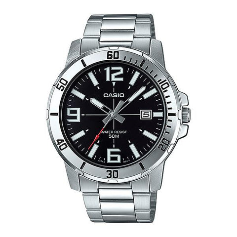 Casio Men's Diver Look Silver Stainless Steel Band Watch MTPVD01D-1B MTP-VD01D-1B