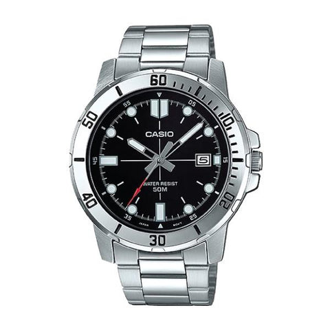 Casio Men's Diver Look Silver Stainless Steel Band Watch MTPVD01D-1E MTP-VD01D-1E