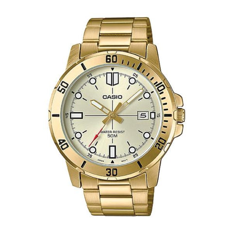 Casio Men's Diver Look Gold Tone Stainless Steel Band Watch MTPVD01G-9E MTP-VD01G-9E