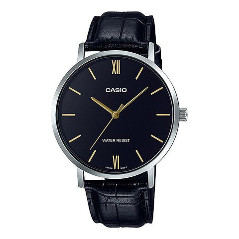 Casio Men's Analog Black Leather Band Watch MTPVT01L-1B MTP-VT01L-1B