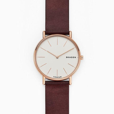 Skagen Men's Signatur Slim Red Leather Watch SKW8600