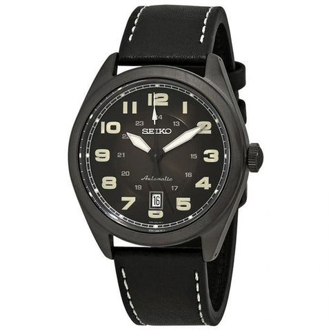 Seiko Men's Automatic Black Leather Strap Watch SRPC89K1