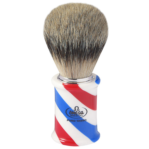 Omega 6735 Barber Pole Rasierpinsel mit Dachshaarborsten - No More Beard