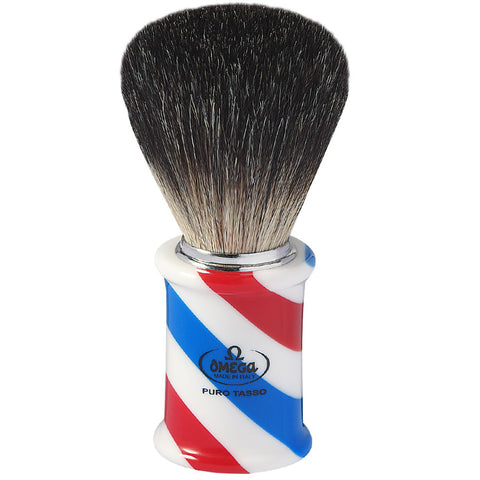 Omega 6736 Barber Pole Rasierpinsel mit Dachshaarborsten - No More Beard