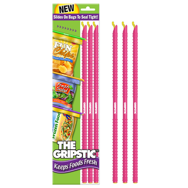 The Gripstic® Keeps Food Fresh 3pk Pink Sealing Rods
