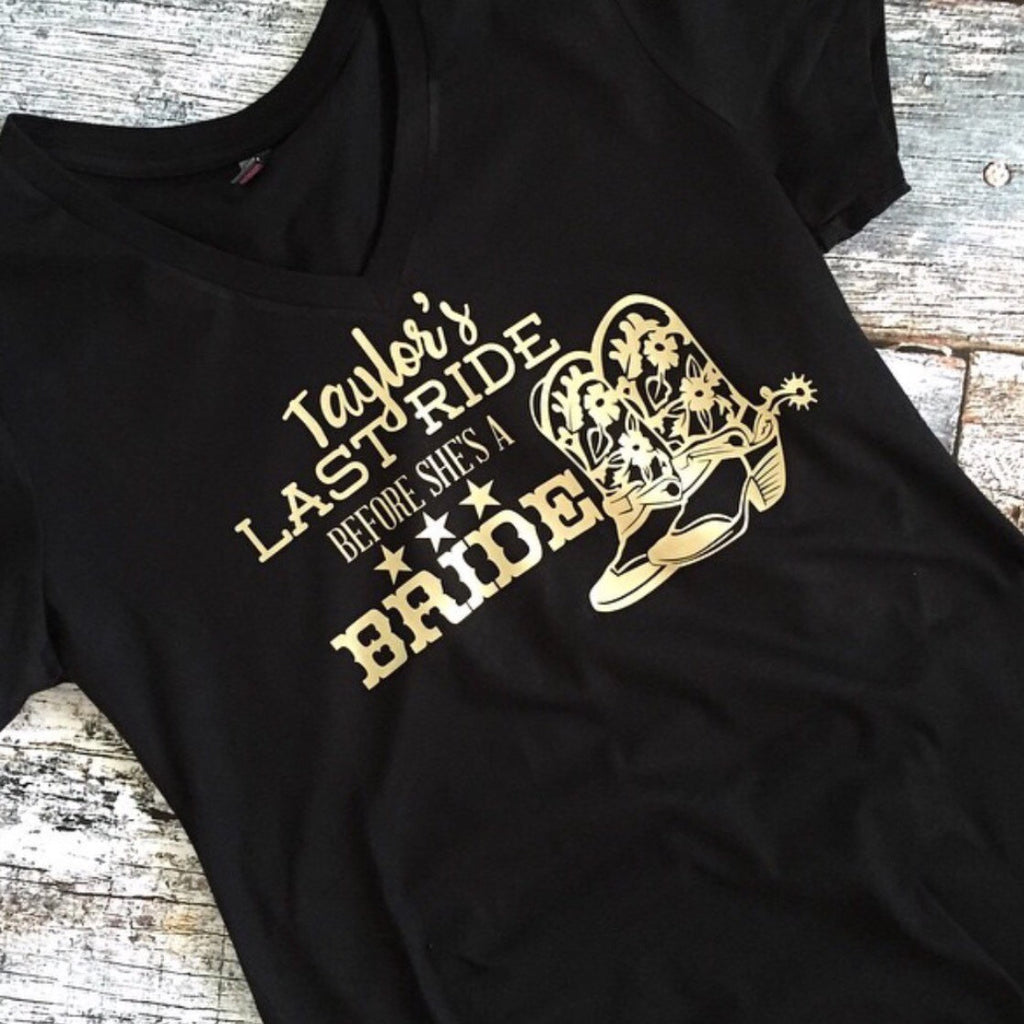 Last Ride Before She's a Bride Bachelorette Party Matching Shirts