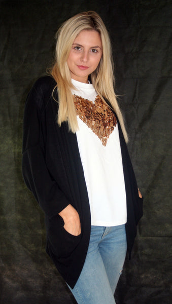 black casual cardigan with pockets ladies